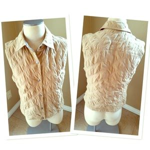FACONNABLE quilted button vest EUC tan ships fast